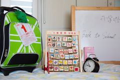 Stuff prepared for the new term in a Back to school day Stock Image