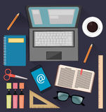 Stuff for studying and business. Useful things for students, office workers and businessmen. Royalty Free Stock Photos