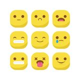 Cute emoji emoticon reaction expression smiley set vector isolated stock illustration