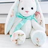 Stuffed animal bunny toy cute gift mint white beautiful thing. Adorable rabbit decor Stock Image