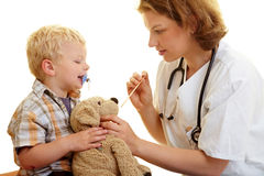 Stuffed animal at pediatrist Stock Images