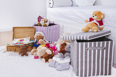 Stuffed animal toys in interior room Royalty Free Stock Image