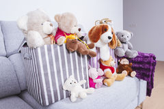 Stuffed animal toys in interior room Royalty Free Stock Photography