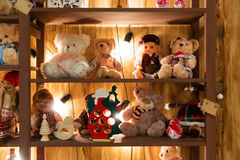 Stuffed animal toys in the rack Royalty Free Stock Photos