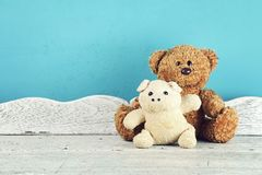 Stuffed animal toys on the white wooden table, Animal dolls, Friends concept. Stock Photos