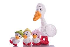 Stuffed animal. White stuffed animal duck with little chick Stock Image