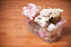 Stuffed animals in case Royalty Free Stock Image