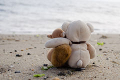 Stuffed Animals Hugging on the Beach Royalty Free Stock Photo