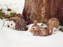 Stuffed Animals in Snow Royalty Free Stock Photography