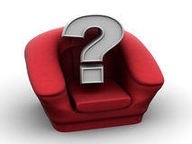 Stuffed Armchair and Question Mark Royalty Free Stock Photography