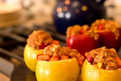 Stuffed Baked Apples with Crumbled toppings. Stuffed baked apples with brown sugar and granola toppings royalty free stock photography
