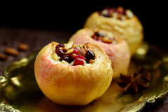 Stuffed baked apples Stock Photos