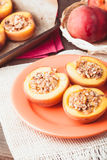 Stuffed Baked Peaches Royalty Free Stock Photos