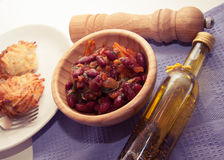 Stuffed beans ragout. Chilli lobio beans ragout in a bowl stock images