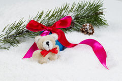 Stuffed Bear with Christmas objects Stock Images