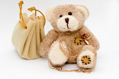 Stuffed Bear with Jewelry Royalty Free Stock Photos