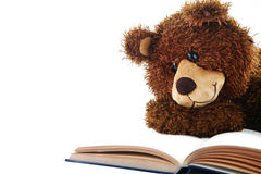 Stuffed bear reading a book isolated on white. Image of a stuffed bear reading a book isolated on white Stock Image