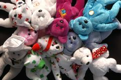 Stuffed bears 2. Many stuffed bears on a black backgroung Royalty Free Stock Image