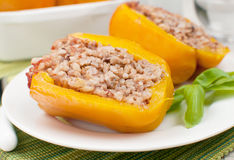 Stuffed bell pepper with brown rice and ground beef Stock Photos