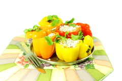 Stuffed bell peppers with cheese spice rice coconut Stock Photography