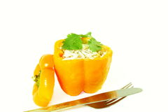 Stuffed bell peppers with cheese spice rice coconut Royalty Free Stock Images