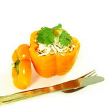 Stuffed bell peppers with cheese spice rice coconut Royalty Free Stock Image
