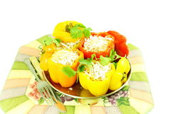 Stuffed bell peppers with cheese spice rice coconut Stock Image