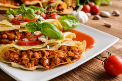 Stuffed Bolognese pancakes with minced meat and vegetable with tomato sauce Stock Photo