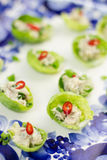 Stuffed brussels sprouts. Brussels sprouts stuffed with mackerel pate, chives and chili stock photos