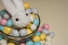 Stuffed Bunny in a Bowl of Easter Candy Stock Image