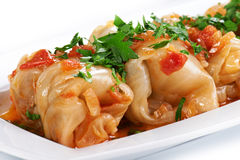 Stuffed cabbage. On a white plate Royalty Free Stock Images