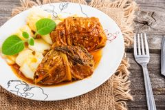 Stuffed cabbage dishstuffed cabbage dishstuffed cabbage dish Stock Images
