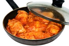 Stuffed cabbage house stewed in a tomato sauce Stock Images