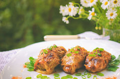 Stuffed cabbage leaves in tomato sauce, Russian dish Stock Photos