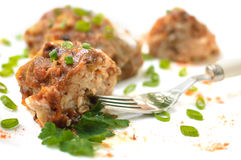 Stuffed cabbage leaves in tomato sauce Royalty Free Stock Photos