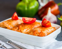 Stuffed cabbage with meat and fresh tomatoes, Ukrainian cuisine Stock Photography