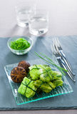 Stuffed cabbage Okinawa. Stuffed cabbage in Japanese on a plate Royalty Free Stock Photo