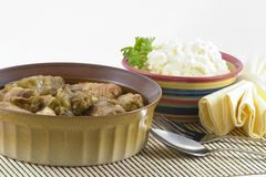 Stuffed Cabbage and potatoes. Cabbage leaves stuffed with meat. Tender cabbage filled with a veal and pork stuffing with rice. Braised in the Swedish manner and stock photos