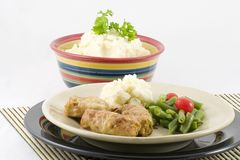 Stuffed Cabbage and potatoes. Cabbage leaves stuffed with meat. Tender cabbage filled with a veal and pork stuffing with rice. Braised in the Swedish manner and stock photo