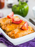 Stuffed cabbage rolls with minced meat and rice Royalty Free Stock Photos