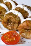 Stuffed cabbage rolls with sour cream and cherry tomatoes Royalty Free Stock Photos