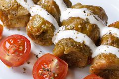 Stuffed cabbage rolls with sour cream closeup. horizontal Stock Photo