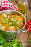 Stuffed cabbage rolls. In the stewpot Stock Photo