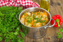 Stuffed cabbage rolls. In the stewpot Stock Photos