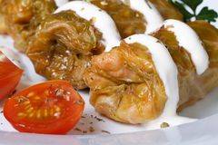 Stuffed cabbage rolls with  tomato macro. horizontal Stock Image