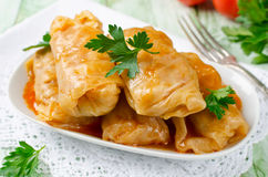 Stuffed Cabbage Rolls With Rice And Meat On A White Plate Royalty Free Stock Photography