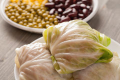 Stuffed cabbage rolls on a wooden table Stock Photography