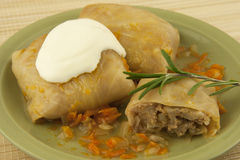 Stuffed cabbage with sauce Stock Photos