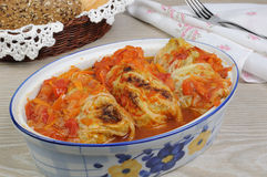 Stuffed  cabbage savoy cabbage with tomato sauce Royalty Free Stock Image