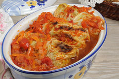 Stuffed  cabbage savoy cabbage with tomato sauce Royalty Free Stock Photos